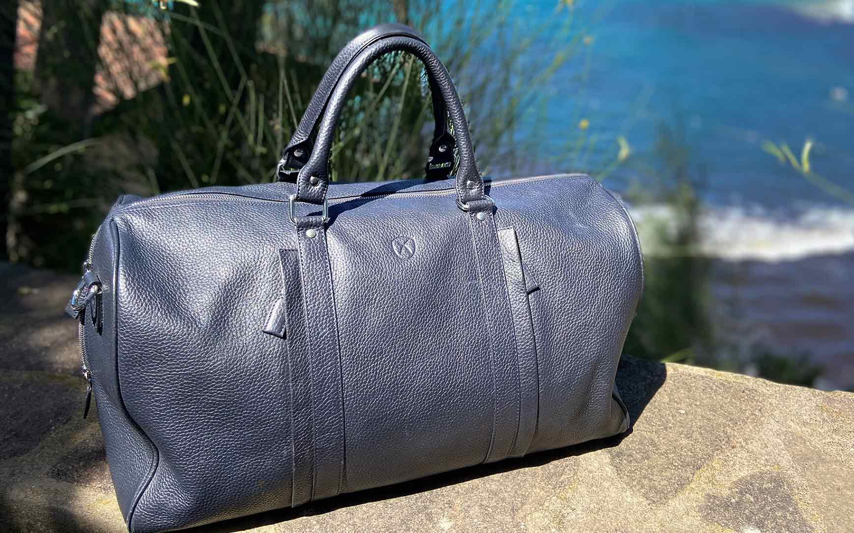 Leather travel bag business bag  leather blue