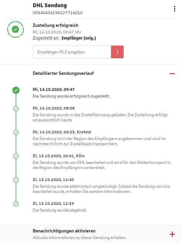 With the tracking number you can check the position of your parcel